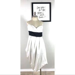 BCBGMAXAZRIA dress silky 10 belted asymmetrical